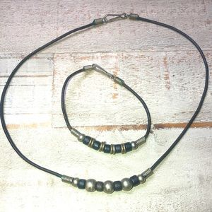 Black & Silver Metal & Beaded Necklace & Bracelet